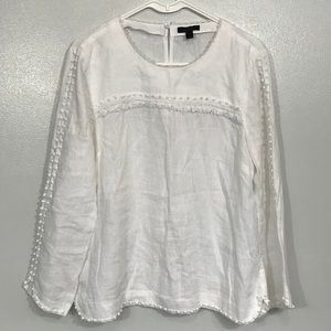 J. Crew Embroidered Linen Blouse SZ 12